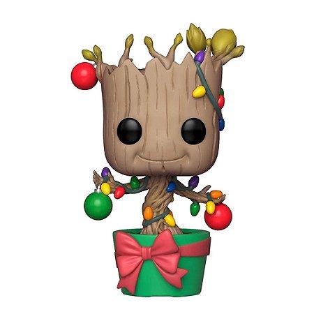 Boneco Groot Funko Pop Marvel Guardiões da Galáxia Feriado Dançando Groot