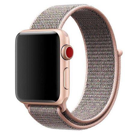 Pulseira Nylon Sport Loop Para Apple Watch 42mm - Rosa/Cinza