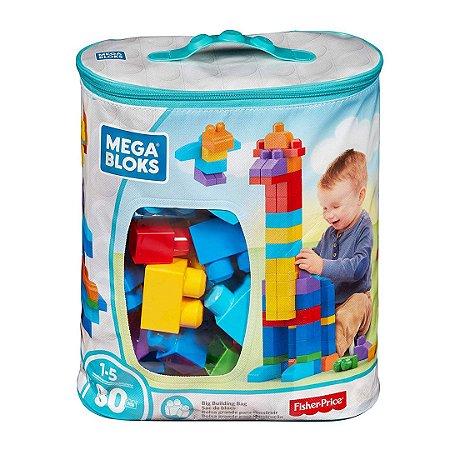 Sacola com 80 Blocos Infantil Fisher Price Divertido Mega Bloks para Bebê