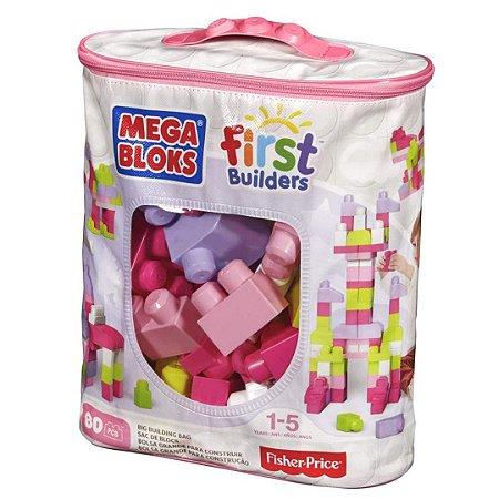 Sacola com 80 Blocos Infantil Fisher Price Mega Bloks Divertido para Bebê