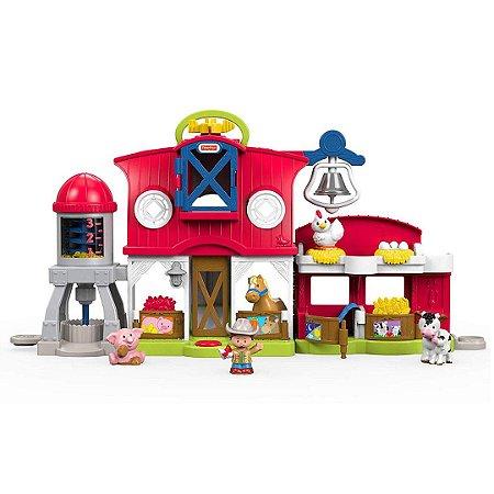 Mini Fazenda Infantil Little People Fisher-Price Cuidando de Animais Com Músicas, Sons e Frases