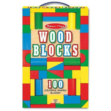 Conjunto de Blocos de Madeira Infantil para Construção Melissa & Doug com 100 Blocos