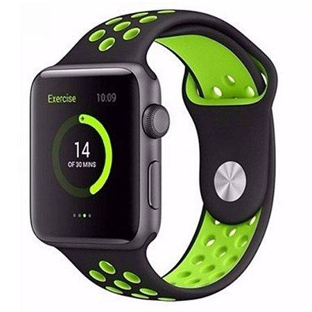 Pulseira Silicone Esportiva Para Apple Watch 38mm - Preto/Verde