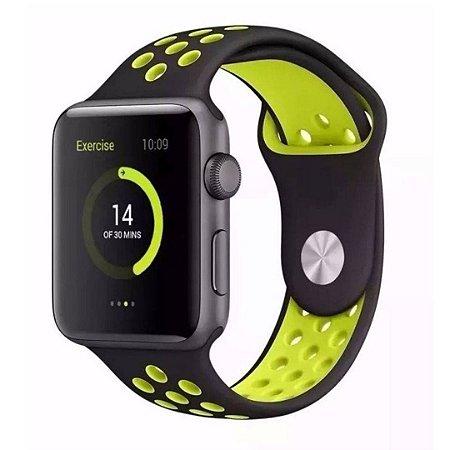 Pulseira Silicone Esportiva Para Apple Watch 38mm - Preto/Amarelo