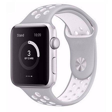 Pulseira Silicone Esportiva Para Apple Watch 42mm - Cinza/Branco