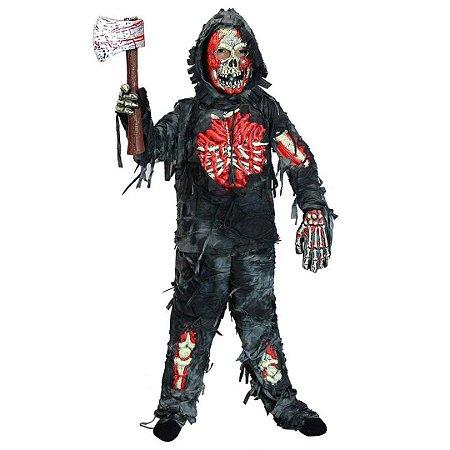 Fantasia Infantil de Zumbi Spooktacular Assustadora Com Machado de Sangue Dia Das Bruxas