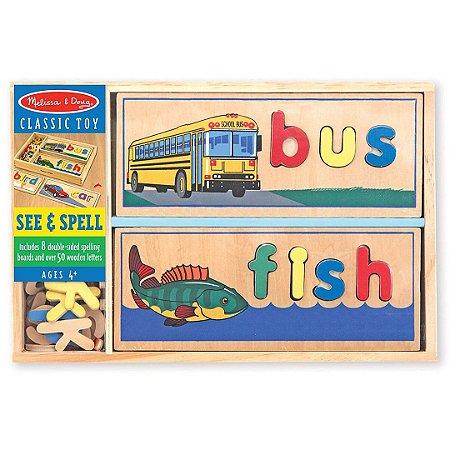 Quebra Cabeça de Madeira Melissa & Doug Brinquedo Educativo Infantil com 8 Placas de Ortografia