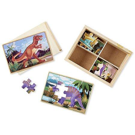 Quebra Cabeça de Madeira Melissa & Doug Infantil Dinossauros 4 em 1 com 48 peças