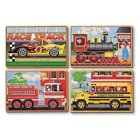 Quebra Cabeça de Madeira Melissa & Doug Infantil Veículos 4 em 1