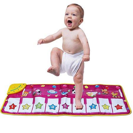Tapete De Atividades para Bebê com Piano Musical Luzes e Móbiles Portátil
