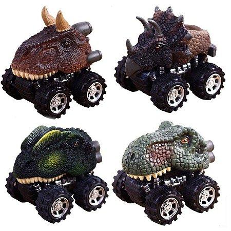 Kit 4 Carros de Ficção Pawaca Formato de Dinossauro com Rodas Grande