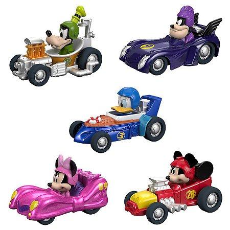 Kit 5 Carros Disney Fisher-Price Mickey e Pilotos Roadster