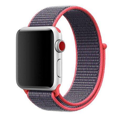 Pulseira Nylon Sport Loop Para Apple Watch 38mm - Rosa