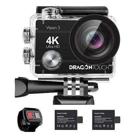 Câmera de Ação Dragon Touch 4K 16MP Subaquática à Prova d'água e WiFi Sensor Criada Pela Sony