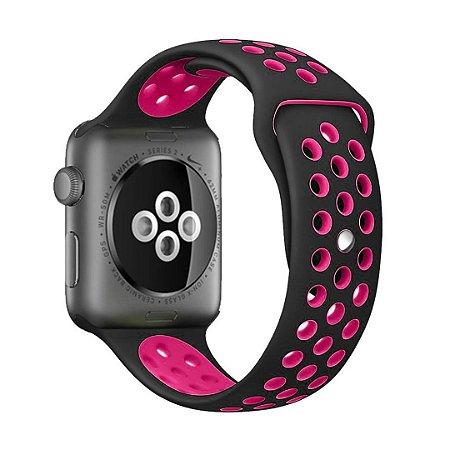 Pulseira Silicone Esportiva Para Apple Watch 42mm Preto/Rosa