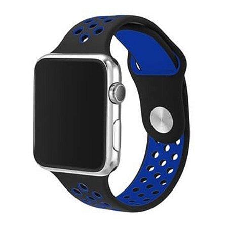 Pulseira Silicone Esportiva Para Apple Watch 38mm Preto/Azul