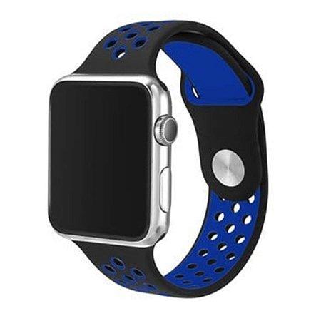 Pulseira Silicone Esportiva Para Apple Watch 42mm Preto/Azul