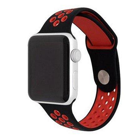 Pulseira Silicone Esportiva Para Apple Watch 38mm Preto/Vermelho