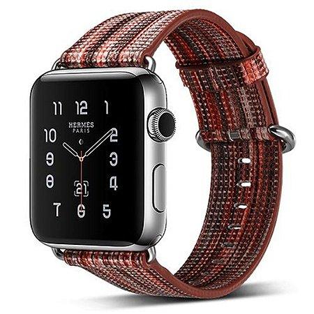 Pulseira Couro Colorido Para Apple Watch 42mm Marrom