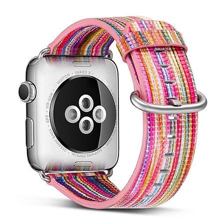 Pulseira Couro Colorido Para Apple Watch 38mm Rosa