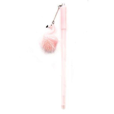 Caneta Ponta fina com pingente de Flamingo