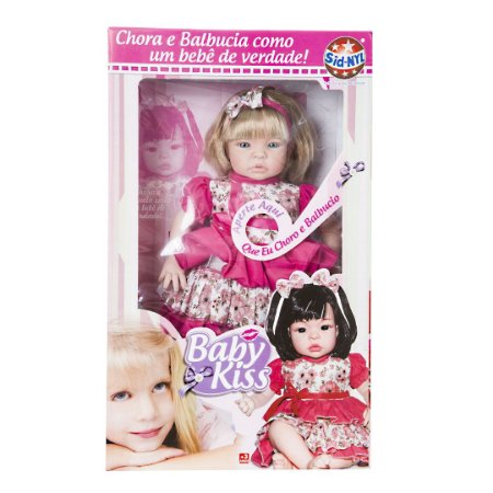 Boneca Baby Kiss Loira Tipo Reborn Chora E Balbucia