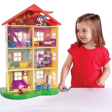 Casa Da Família Peppa Pig Infantil com 3 Personagens
