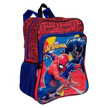 Mochila Grande Com Bolso Spiderman 19m Plus