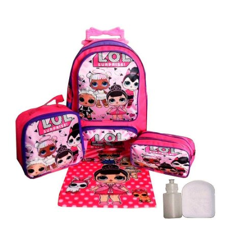 Kit Mochila Escolar Infantil Lol Surprise Com Rodinha