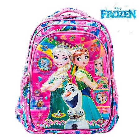 Mochila 3D Infantil Escolar Frozen Elsa e Anna de Costas