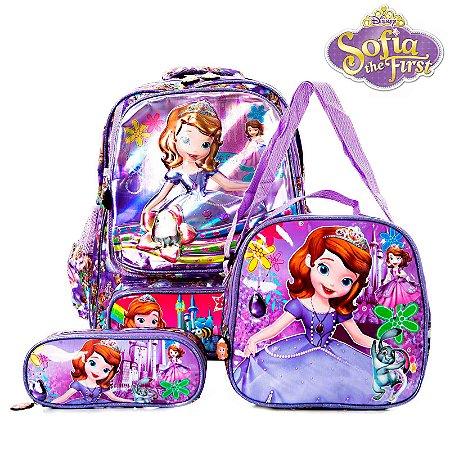 Kit Mochila Escolar Infantil 3D Princesinha Sofia de Costas