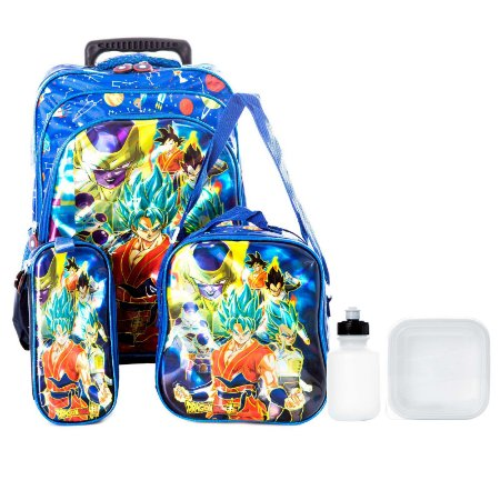 Kit Mochila Escolar Dragon Ball Z Infantil Com Rodinha