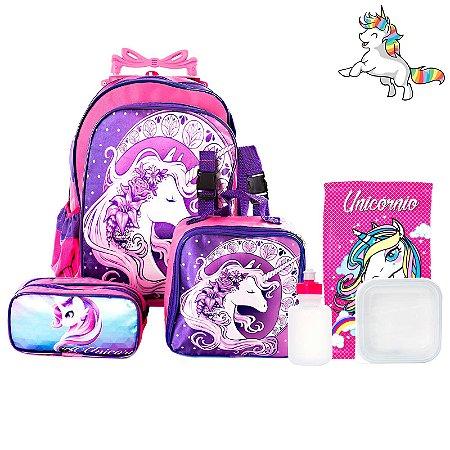 Kit Mochila Escolar Infantil Unicornio Com Rodinhas