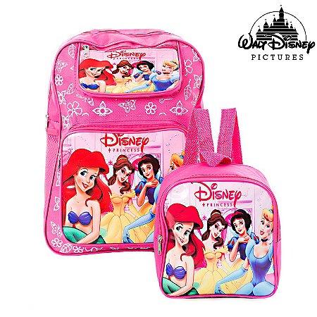Kit Mochila Escolar Infantil Princesas de Costas