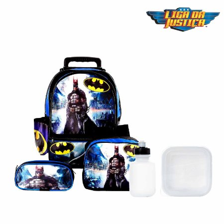 Kit Mochila Infantil Escolar Batman Com Rodinha