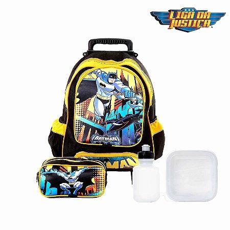 Kit Mochila Infantil Escolar Batman Com Rodinhas