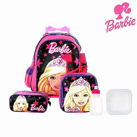 Kit Mochila Infantil Escolar Barbie Com Rodinha