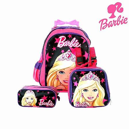 Kit Mochila Infantil Escolar Barbie Com Rodinhas.