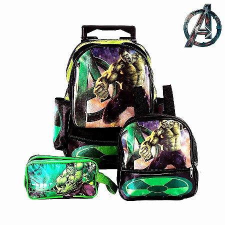 Kit Mochila Infantil Escolar Hulk Com Rodinhas
