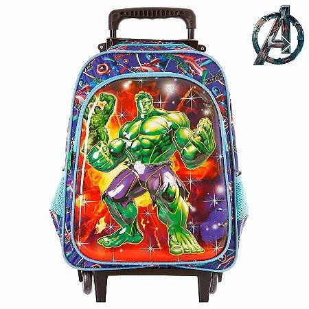 Mochila Infantil Escolar Hulk 3D Com Rodinha