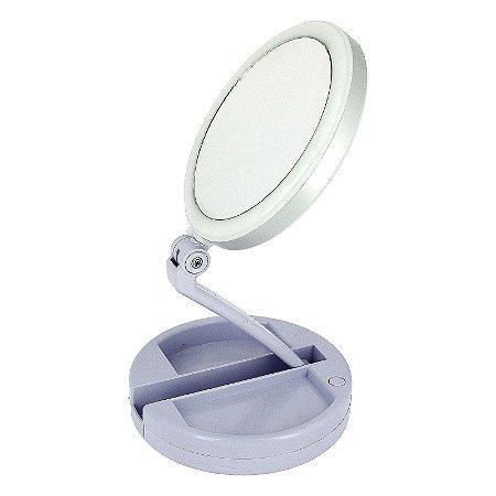 Espelho De Aumento 10x Com Luz De Iluminação Led De Mesa Dobrável E Articulável