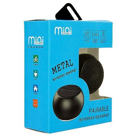 Mini Caixa De Som Portátil Preta Wireless Speaker