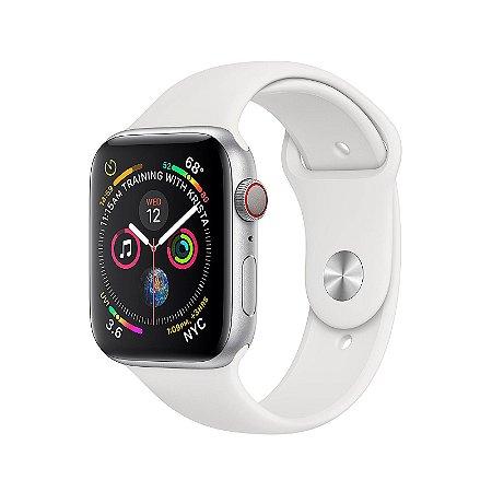 Apple Watch 4 GPS e Cellular Case de Alumínio Prateado com Faixa Esportiva Branca