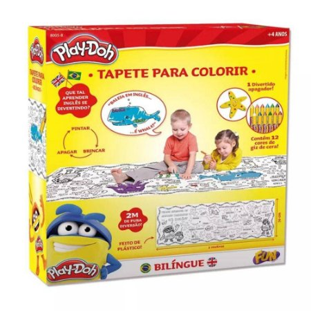 Tapete Bilíngue com Apagador para Colorir Play-Doh Fun 8005-8