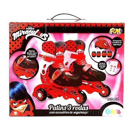 Patins Ajustáveis Com Kit De Segurança 3 Rodas Tamanho 29 Ao 32 Miraculous Ladybug Fun Divirta-se