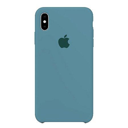 Capa Iphone XS Max Silicone Case Apple Azul Bebê