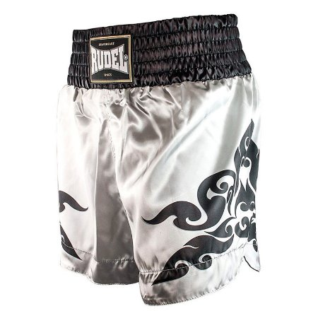 Shorts de Muay Thai Cetim MT12 Corner Silver Rudel Sports Tamanho P