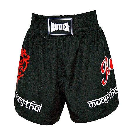 Shorts de Muay Thai MT 04 Coração Valente Preto Rudel Sports Tamanho M