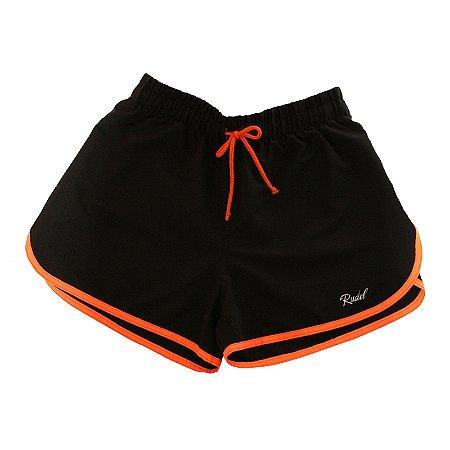 Shorts Feminino Sprint Preto e Laranja Rudel Sports Tamanho G