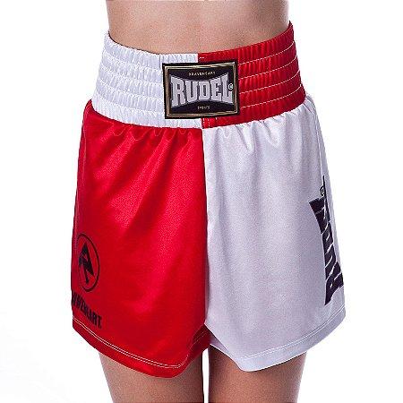Shorts de Boxe Feninina Olimpic Vermelho e Branco Rudel Sports Tamanho M